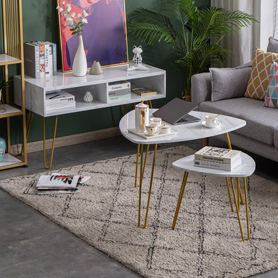 HL Marble Iron Feet Coffee Table and Side Table Set