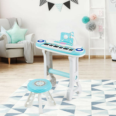 HL Kid's Blue Educational Electronic 37 Key Keyboard Piano with Stool & Microphone