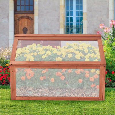 HL Wooden Greenhouse Garden Planter Box with Transparent Protection