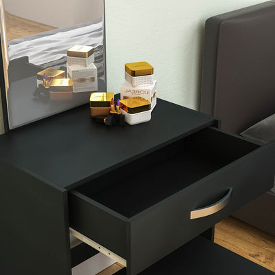 Isla Black Dressing Table With 1 Drawer Mirror & Stool