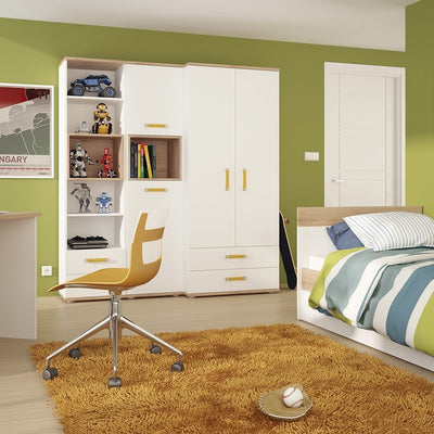 4KIDS Tall 2 Door Cabinet with Orange Handles
