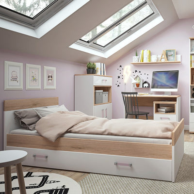4KIDS Single Bed Frame with Under Drawer with Lilac Handles