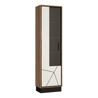 Brolo Tall Glazed Display Cabinet (LH) With the Walnut and Dark Panel Finish