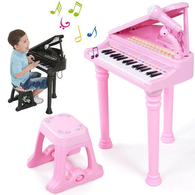 Kids Educational Musical Grand Piano with Stool