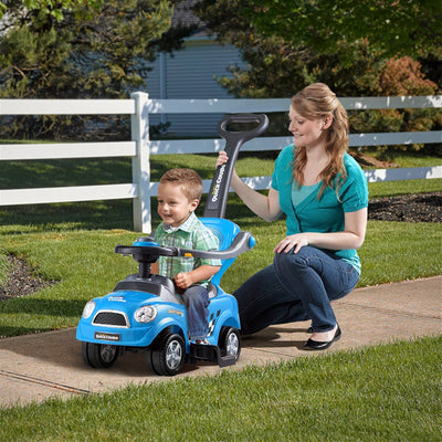 HL Kids 3 in 1 Ride on Car with Push Handle - Blue