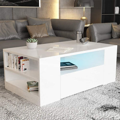 LED Coffee Table Wooden Drawer Storage High Gloss