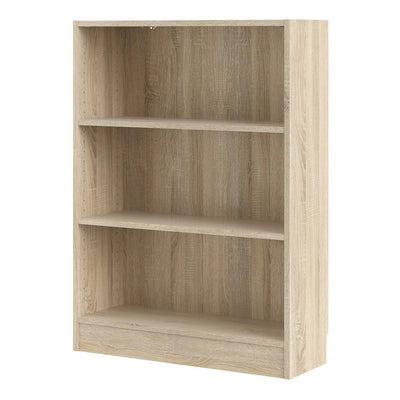 Low Wide Bookcase (2 Shelves) in Oak