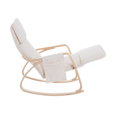 Comfortable Modern Beige Rocking Lounge Chair