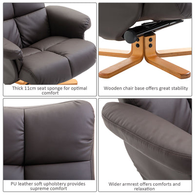 PU Leather Recliner Chair with Ottoman Footrest