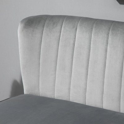 Modern 2 Seater Smooth Grey Sofa w/ Wood Frame Soft Padding