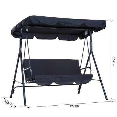 LUX Backyard 3-Seater Black Garden hammock