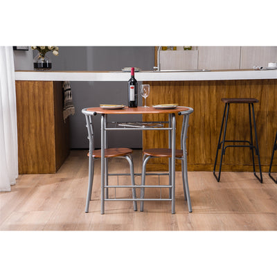 HL PVC Breakfast Table (One Table and Two Chairs) Brown Wood
