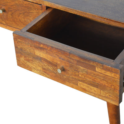 HL 3 Drawer Mixed Chestnut Console Table