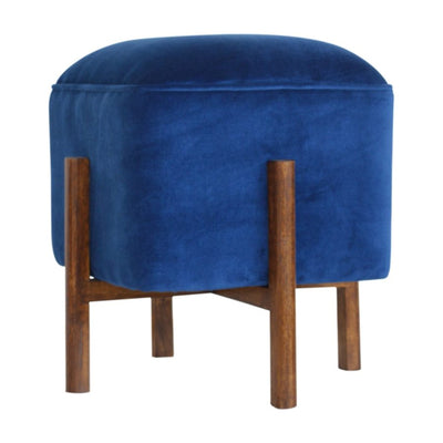 HL Royal Blue Velvet Footstool with Solid Wood Legs