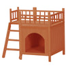 HL Wooden Cat House Living House Kennel with Balcony - Orange Red