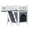 HL Wooden Cat House Living House Kennel with Balcony - Grey