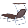 Brown Folding Reclining Sun Lounger Chair W/ Sunshade