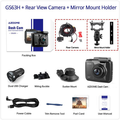4K Dash Cam Built in GPS Speed WiFi & Night Vision