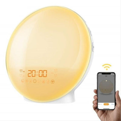 LED Wake Up Light Alarm Clock with 6 Natural sounds & FM Radio