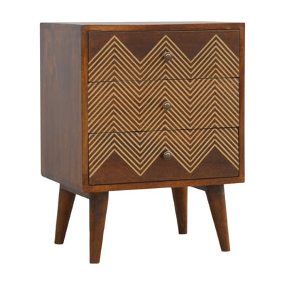 HighLife Brass Inlay Chevron Bedside with 3 Drawers