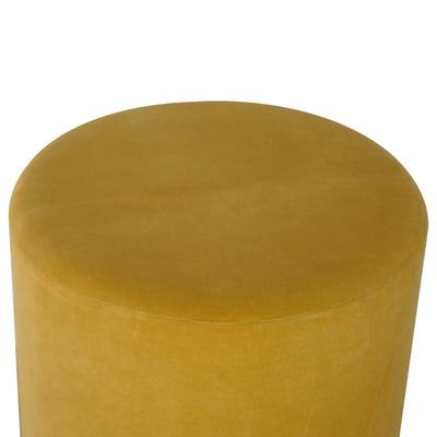HL Mustard Velvet Footstool with Gold Base
