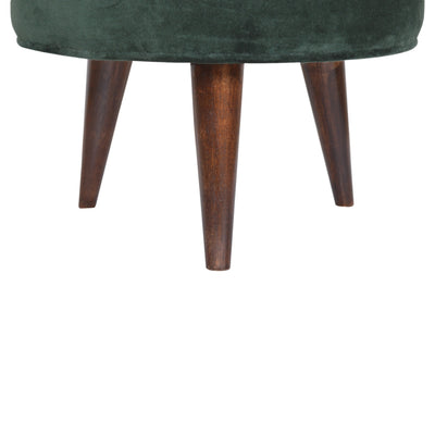 HighLife Emerald Green Velvet Nordic Style Footstool