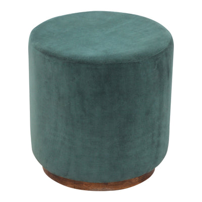 HighLife Large Emerald Green Velvet Footstool with Wooden Base