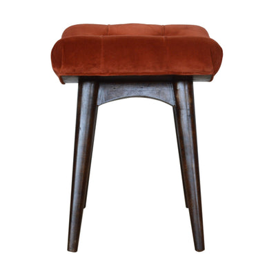 HighLife Brick Red Cotton Velvet Curved Bench