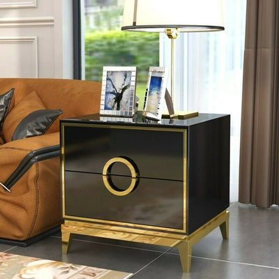 Stainless Steel Gold Bedside Table