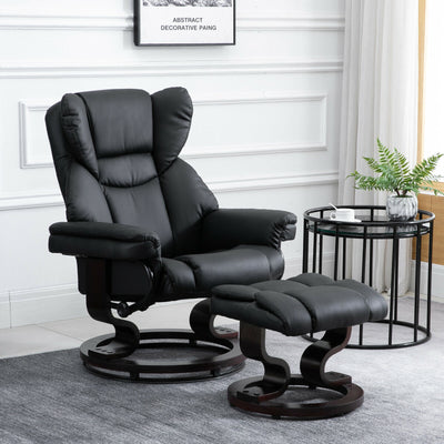 Padded Leather Reclining Black Armchair Sofa Chair w/Footstool