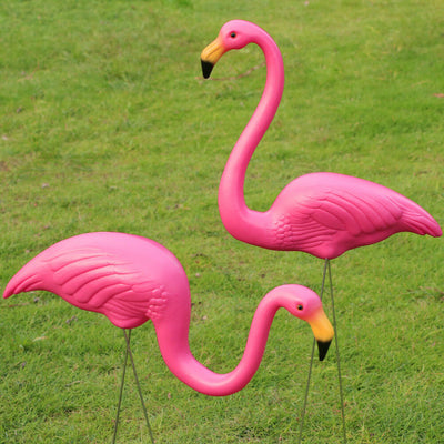 2Pcs Pink Lawn Flamingo Garden Ornaments