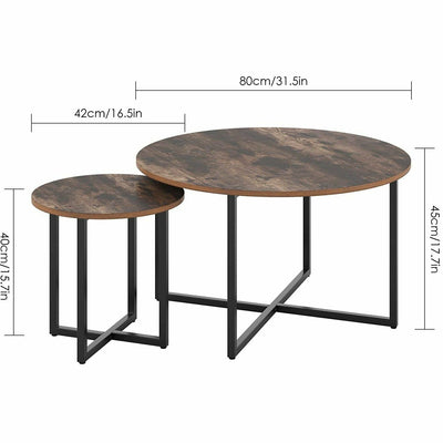 2x Round Coffee Table Wooden