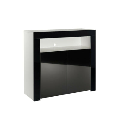 2 Doors High Gloss Black Cupboard
