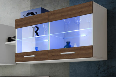 Wall Display Cabinet Unit Glass Shelves
