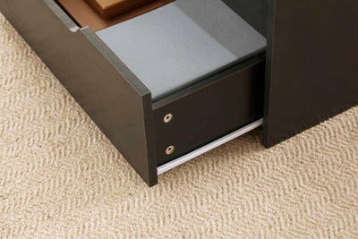 Black Wooden Coffee Table With Lift Up Top and 2 Large Storage Drawers