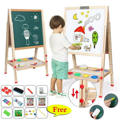 3 in 1 Kid Wooden Blackboard Whiteboard Art Chalk Board