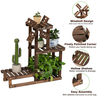 HL 4 Tier Wooden Plant Stand / Flower Display Stand
