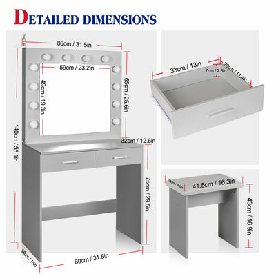 Light Grey Dressing Table Makeup Desk w/LED Lighted Mirror & Drawer, Stool