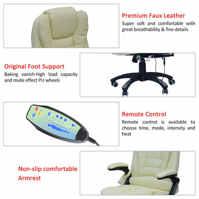 HighLife Cream Leather Massage Computer Chair