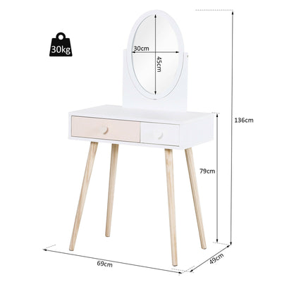 Kids Dressing Table w/Mirror and 2-Drawers