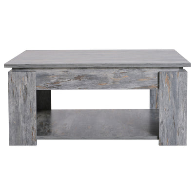 2 Tier Accent Grey Coffee Table with Bottom Shelf Storage