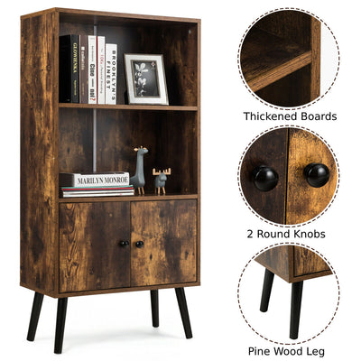 Retro Wooden Bookcase Display Cabinet