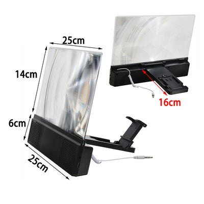 Premium 3D Mobile Phone Screen Magnifier with Portable Stereo Speaker