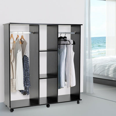 HCM Mobile Double Open Wardrobe w/ Clothes Hanging Rail