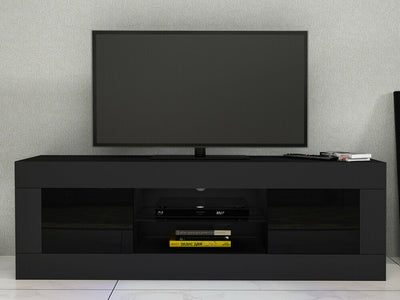 Panana Black TV Unit Cabinet Stand Sideboard High Gloss Doors with RGB LED Lights