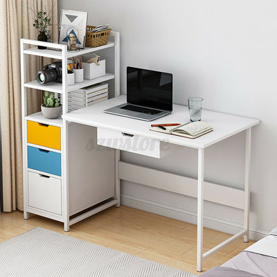 White Sakura Computer Desk With Drawers