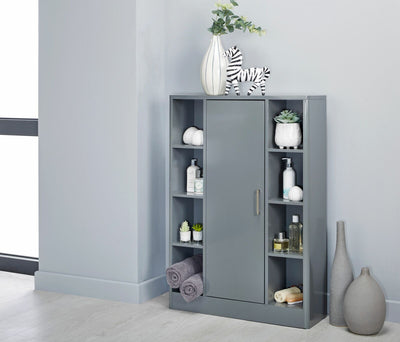 Sleek Grey Bathroom Storage Cabinet