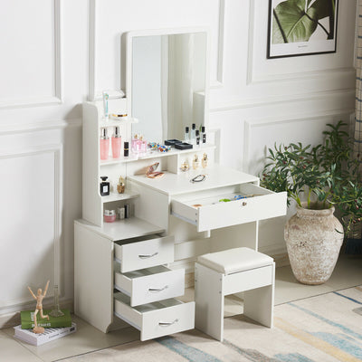 Modern Dressing Table Jewellery Makeup Desk w/ Mirror & Drawer