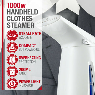 NTA Electric Portable Handheld Clothes Garment Steamer 1000W