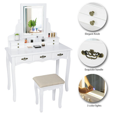 White Dressing Table w/ LED Mirror Vanity Set and 7 Drawers Organizer